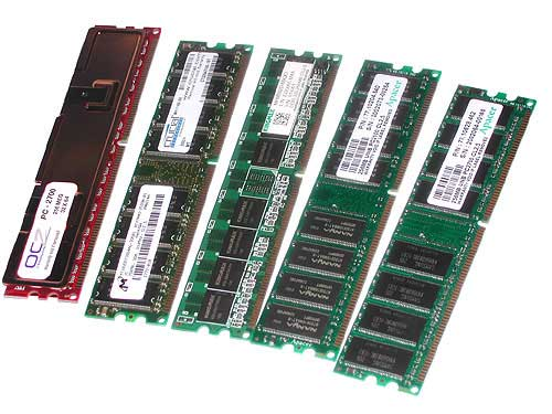DDR Memory PC 3200, PC2700 and PC2100 , PC2100 SO-DIMM -  184 pin, 200 pin
